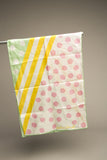 Sally Gee Vintage Scarf Polka Dots Stripes Pink Yellow Green