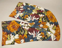 Vintage Watercolor Floral Scarf Orange Blue Bold Colors