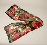 Elaine Gold Floral Vintage Scarf Red Black Accessory