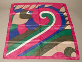 Vintage Scarf Pink Magenta Blue Green Tan Bold Head wrap Accessory