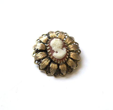 Lady Face Cameo Pin Brooch Vintage Jewelry