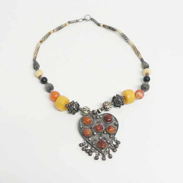 Exotic Beaded Necklace Ethnic Heart Vintage Jewelry