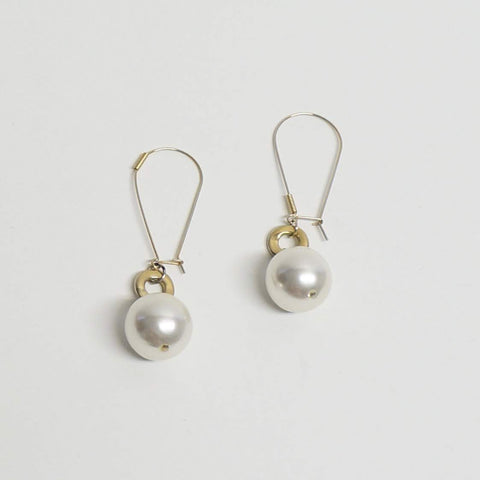 Pearls Hoop Dangling Earrings Vintage Costume Jewelry