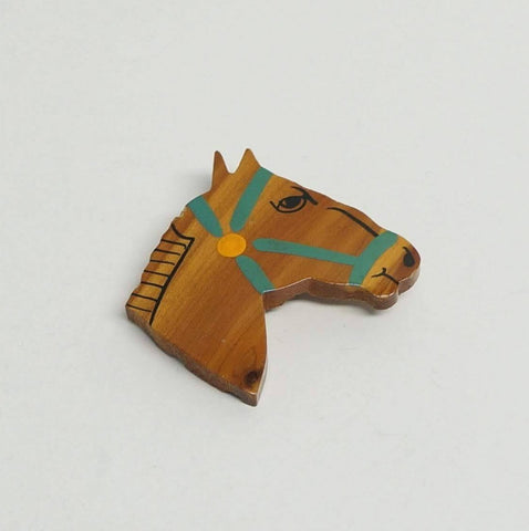 Vintage Horse Pin Lovely Wooden Carved Face Figural Jewelry