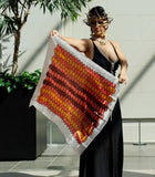 Beehive Design Orange Metallic Scarf Vintage Accessories