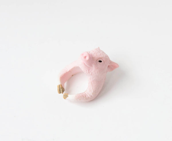 Pig Hug Cocktail Ring Whimsical Plastic Jewelry