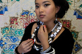 Black and White Color Block Necklace Vintage Plastic Jewelry