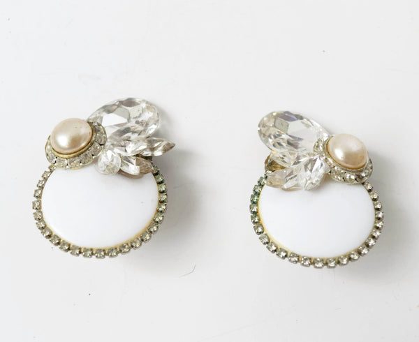White Bold Clip on Earrings Vintage Jewelry