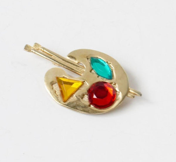MJ Ent Colorful Artist Pallet Pin Brooch Vintage Costume Jewelry