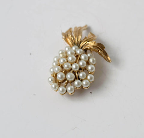 Art Pearls Pin Grape Fruit Brooch Whimsical Vintage Jewelry