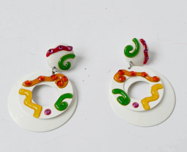 White Colorful Clip on Earrings Vintage Jewelry