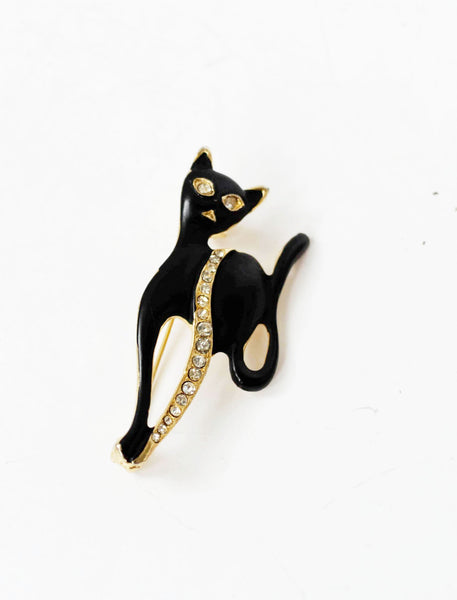 Black Cat Figural Pin Brooch Vintage Jewelry