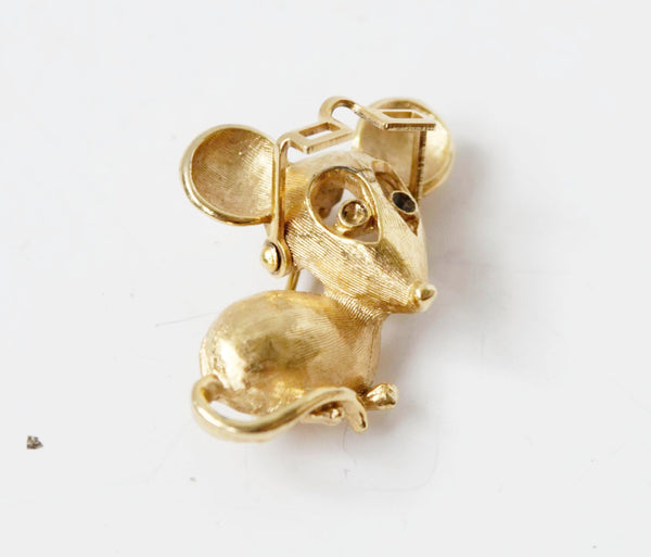 Avon Mouse Reader Figural Pin Brooch Vintage Jewelry