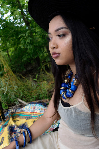 Blue and Gold Beaded Necklace Ethnic Vintage Jewelry