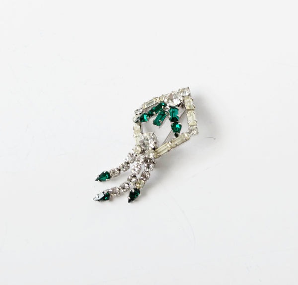 Art Deco Emerald Green Pin Brooch Vintage Jewelry
