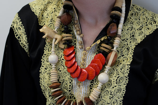 Ethnic Handmade Vintage Jewelry Wooden Beads Whimsical Animal Figural