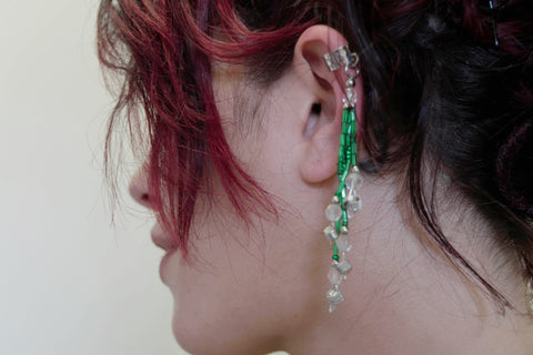 Green Silver Ear Cuff Single Earrings Vintage Jewelry