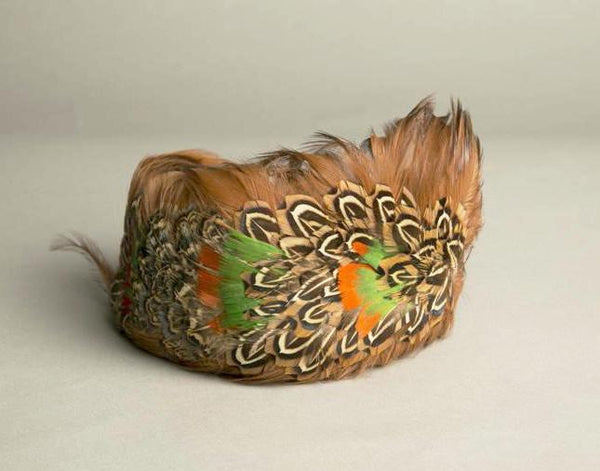 Vintage Feathered Toque Hat Handmade Fascinator Millinery Orange Green Brown