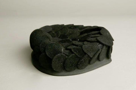 Genuine Velour Black Hat Imported Black Pillbox Vintage Millinery