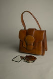 Vintage Framed Handbag Whiskey Leather Satchel Bag with coin purse and mirror set Handmade 50s