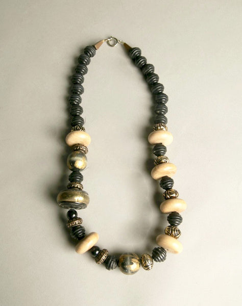 Ethnic Tribal Chic Necklace Golden Black Wooden Plastic Beads Modern Jewelry