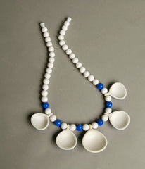 Vintage Nautical Necklace Blue White striped Sea Shells Old Plastic Jewelry 60s Summer