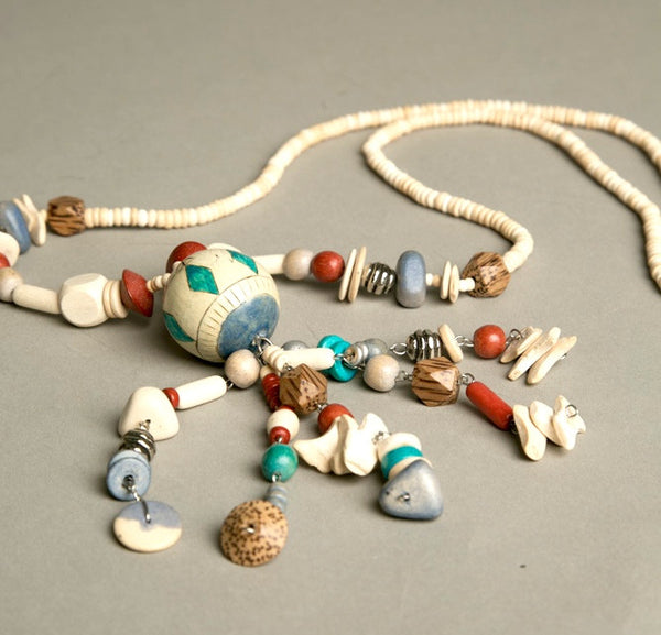 Handmade Ethnic Tribal Pendant Necklace Wooden Bone Beads Vintage Jewelry