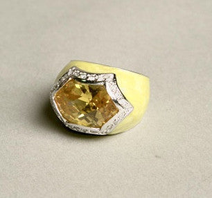 Yellow Enameled Big Rhinestone Cocktail Ring Costume Jewelry