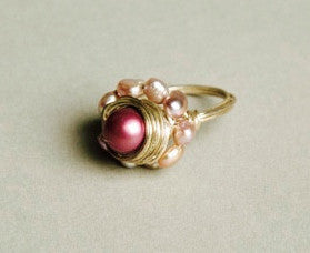 handmade pink pearls cocktail ring unique jewelry