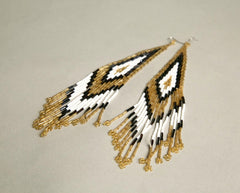 Massive Long Earrings Western Beads Golden White Gray Black Native Unique Handmade Vintage Jewelry
