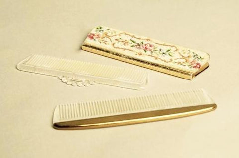 Needlepoint Mirror Hair Comb Set Pointelle Floral Antique Accessory