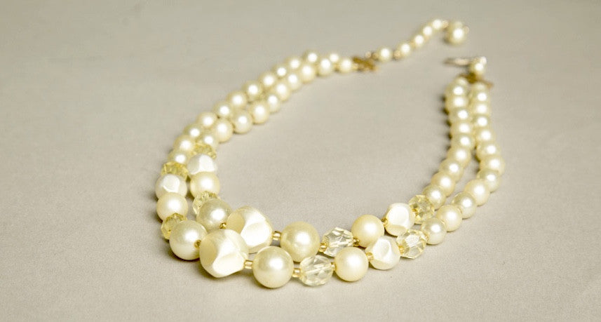 Retro Short Necklace Multi-strands Pearls Yellow Crystals Beaded Vintage Jewelry made in Japan 60s