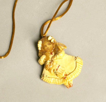 Handmade Vintage Jewelry 1985 Folk Art Pendant Necklace Grand Old Ohio Western Reserve