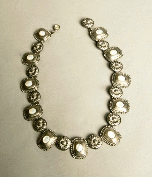 Stunning Ornated Silver Metal White Beads Necklace Vintage Jewelry