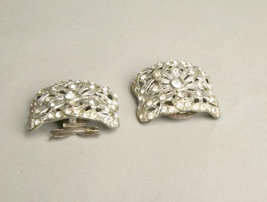 Art Deco Vintage Jewelry Set 2 Shoe Clips Rhinestones Accessories