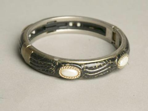 Hinged Bangle Black Bracelet Pearl Beads Vintage Jewelry
