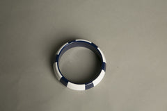 Nautical Bangle Bracelet Navy Blue White Striped Color Block Vintage Jewelry