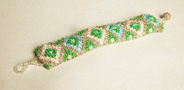 Dazzling Handmade Jewelry Heavy Beaded Bracelet Wonderful Craftsmanship
