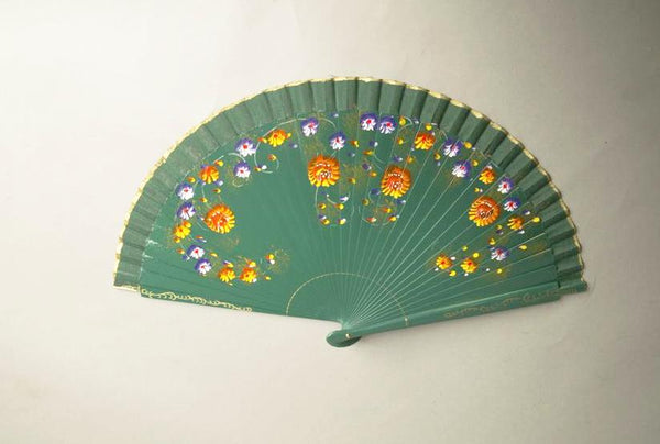 Antique Floral Fan Feminine Articulated Hand held Wooden Fan Accessory