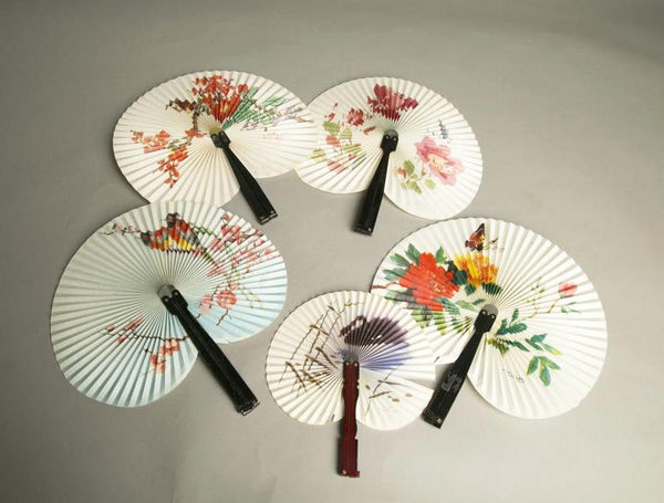 Lot of 5 Paper Fan Accessory Made in the People's Republic of China