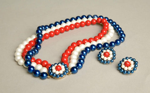 Vintage Patriotic Jewelry Red White Blue Beaded Set of Necklace and Clip on Earrings