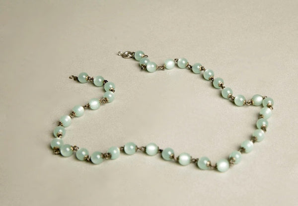 Plastic Beaded Necklace Mint Green Metallic Beads Chain Link Vintage Jewelry