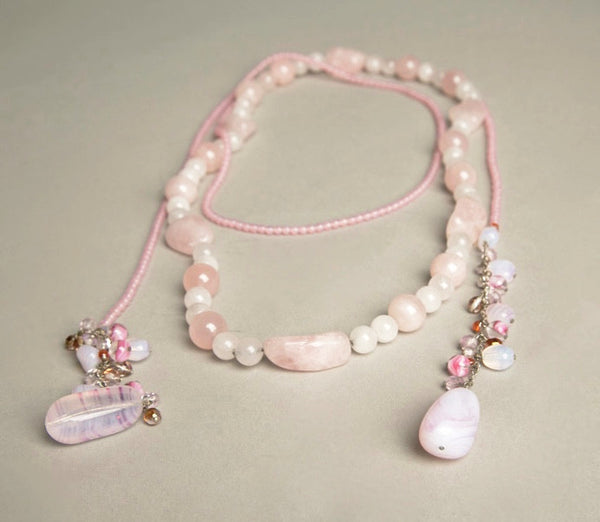 Pink Stone Necklace Set Genuine Agatha Rocks Lariat Scarf Jewelry handmade in Brazil