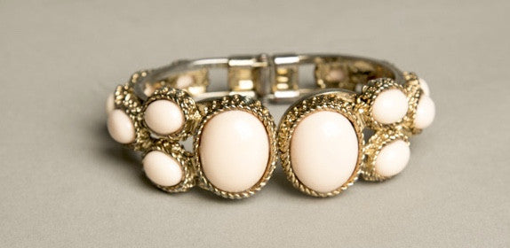 Beaded Hinged Bracelet Vintage Costume Jewelry Pastel Pink
