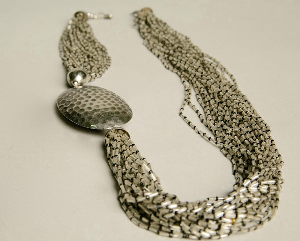 Silver Beaded Necklace Exuberant Long Bold Statement Handmade Vintage Jewelry