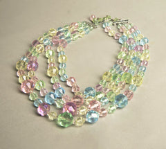 Multicolored Crystal Necklace Layered Beads Vintage Jewelry made in Western Germany