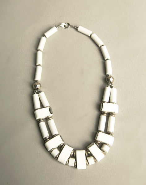 Mod Modernist Silver White Plastic Necklace made in Japan 60s True Vintage Jewelry