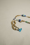 Blue Beaded Necklace Black Bird Antique Brass Chain Link Vintage Jewelry