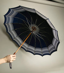 Kone Vintage Umbrella Pat Pend Root Beer Plastic Handle Navy Blue Nylon Rain Accessory