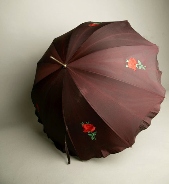 Red Roses Embroidered Vintage Umbrella Brown Acetate Quality Rain Accessory